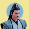 a cropped bust of Nie Mingjue, from The Untamed, on a yellow background and a faded blue circle behind his head