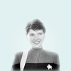 Black and white image of Ezri Dax from Star Trek Deep Space Nine on a pale blue background