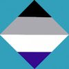 Ace flag in a diamond with the remaining space in light blue.