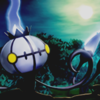The Pokemon Chandelure, under the moonlight of a foggy night sky.