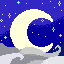 a crescent moon set on a dark background with pastel stars. grey cloud swirls across the bottom.