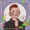 picrew image of a trans guy with blue eyes, light skin, and a purple undercut, they have a black jacket with an antifa pin and are holding a trans pride flag