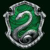 The crest for Slytherin house, on a dark green background