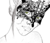 Hand drawn profile shot of my OC Evelyn Lavellan in a lace fox mask