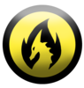 Silhouette of a yellow dragon in black flame