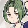 A colored shot from A3! manga, featuring Yuki Rurikawa, a young boy with green hair in a bob haircut and ember eyes. His facial expression conveys general scepticism.