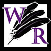 wordsmithraven logo - the letters W and R overlaying three black feathers fanned out over a white background all contained in a black border