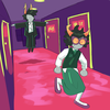 lynera fleeing from a t-posing, levitating lanque in a hallway of the brooding caverns