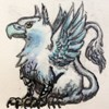 Blue griffon, sitting. The griffin is a mythical creature with the foreparts of an eagle and hind parts of a lion. In heraldry it commonly represents bravery, strength, alertness and endurance. Blue stands for steadfastness, strength and loyalty.
