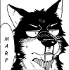 "A wolf with black and white fur, awed into a nosebleed by something offscreen, able only to think simply to himself ""Marf."""
