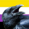 a crow against the nonbinary pride flag