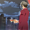 Edgeworth from the anime looking out the window gayly
