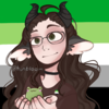 A colored manga panel of Touka against the aromantic flag with her kagune activated