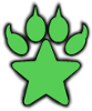 Jadestarwolf logo - Wolf pawpad with a star as the center