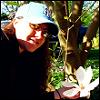 Kiwi and a saucer magnolia bloom. ♥