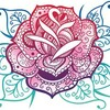 A mandala illustration with a rose at its center