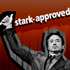 "Greyscale image of Robert Downey Jr as Tony stark giving a thumbs up against a red background. Text reads: ""Stark-Approved""."
