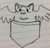 A line drawing of a small, cheerful cartoon bat in a shirt pocket