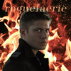 Dean Winchester looking intense (side profile) with fire and the text roguefaerie