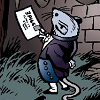 A small mouse standing upright with one hand behind its back and a letter in the other, wearing 19th century servant's clothing.