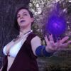 Casual cosplay of Morrigan from Dragon Age