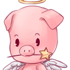 A pig with wings, a halo above its head, and a star wand in its mouth to symbolize a fairy god-piggy