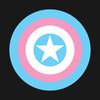Captain America shield in transgender pride colors