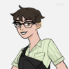a picrew of a white person with short brown hair, piercings, and rectangular glasses, wearing a light green shirt and black overalls and smiling hesitantly