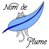 """A picture of a cat biting an enormous feather with the caption """"Nom de Plume"""""""