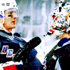 chris kreider contemplates how he will kiss cam talbot's helmet