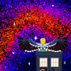 A pixel art piece of the Thirteenth Doctor seated on her TARDIS, her back to the viewer, looking out at a galaxy at runs a gradient from orange to deep blue. She has bluejay-esque wings spread out behind her.