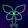 Profile picture of a pixel art butterfly