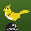 A yellow bird perched on a robot's hand (the character Ganymede from Overwatch)