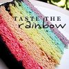 A cake in rainbow colours. Taste the rainbow!