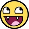 """Yellow smiling """"awesome"""" face with fangs"""