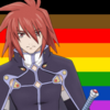 Kratos Aurion (Tales of Symphonia) with the Rainbow Gay Pride flag as the background.