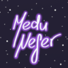 "Words ""Medu Nefer"" with a simple starry background."
