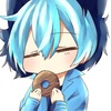 Neko Shota boi munching on a donut