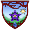 TwilightBlossom's icon - a shield of arms featuring a columbine flower below a seven-pointed star on a field of blue and green. The sides of the shield are wooden; branches intertwine at the top and roots enclose a teardrop sapphire at bottom.