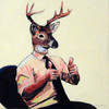 A deer-headed person in business casual attire, giving a double thumbs-up
