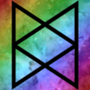 Bureau of Balance logo from The Adventure Zone, over a rainbow-gradient tinted field of stars.