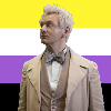 Aziraphale from Good Omens in front of the non-binary flag