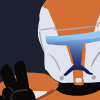 Boss from the Star Wars game Republic Commando, seen from the shoulders up with his helmet on. He looks to the viewer, and flashes a peace sign