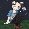 a white rabbit wearing a blue t-shirt and black pants, sitting on a hill at night time. the stars are out. the rabbit has a thought bubble that indicates it is thinking about sleeping.