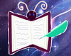 this is my cutie mark; a open book-fly with a feather pen writing in it, against a SU space background.