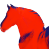A silhouette of a horse's head and neck, looking slightly over its shoulder so its head is in profile. The silhouette is filled in with red and a few dark blue shadows that show the contours of its shoulder and back.