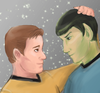 kirk and spock staring at each other lovingly