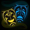 The Comedy and Tragedy masks, rendered in a science fiction style. Specifically, the glowing blue and yellow of Tron.