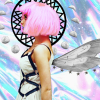 Pink Haired girl with wings and halo of moons