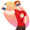 Drawing of a redhaired white man in a flash shirt and plain black super hero man, offering the viewer a bottle of water